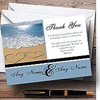 ラブハート 砂浜 海 パーソナライズ ウェディング サンキューカード
