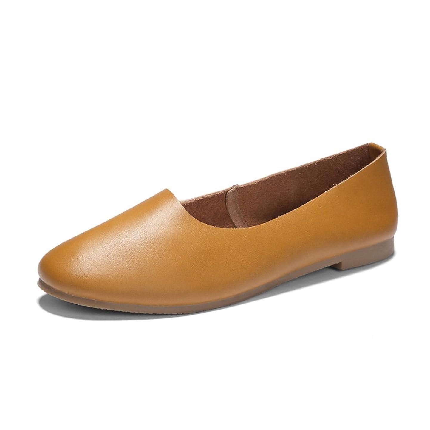 驚くばかり噂時折HWF レディースシューズ 浅い口シングルシューズスプリングフラットシューズレトロレディースシューズ芸術ラウンドおばあちゃんの靴 ( 色 : アースイエロー , サイズ さいず : 36 )