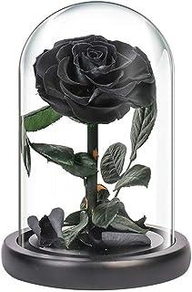ガラスドームの永遠のローズプリザーブドリアルローズ、手作り、決して枯れない永遠の花バレンタインデー、誕生日、記念日、クリスマスギフト