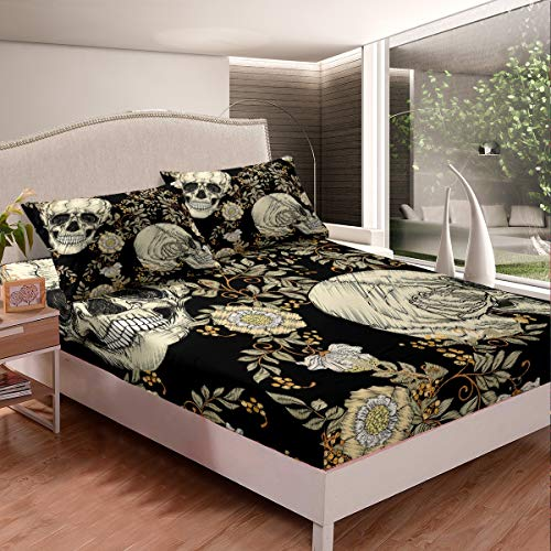 Castle Fairy White Tooth Skull Teen Young Teens Bed Sheet Twin Funny Head Skull Pattern Adults Duvet Sheet Flowers Leaves Dyeing 2 Pieces Fitted Sheet Sets(1 Fitted Sheet 1 Pillow case)
