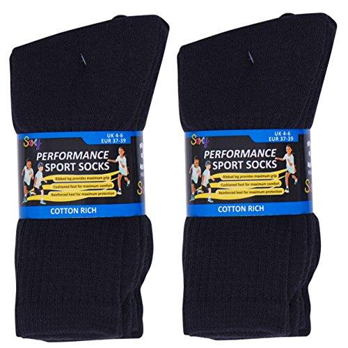 12 Pairs Boys Cotton Rich Sport Socks School Socks Shoe Sizes 9 12 12 3 4 6 UK 4 6 EU 37 39 Black