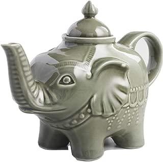 Elephant Reactive Glaze Porcelain Teapot Green - 32 Ounce Capacity