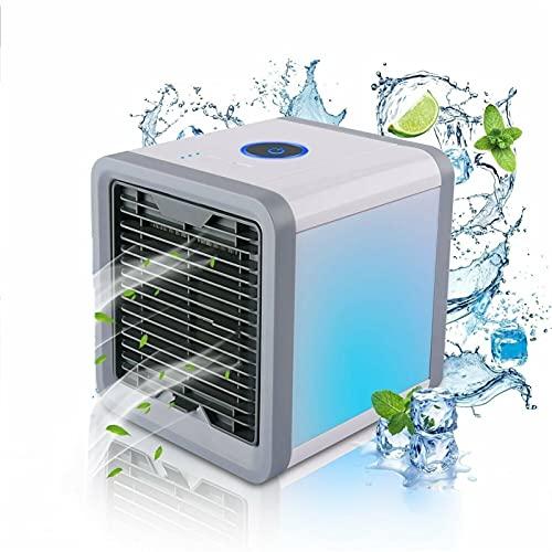 AZHLUF Mini klimaanlage 3-Gang-Mobile Tragbare Luftkühler, klimagerät klein, Ventilator, Luftreiniger, USB-Aufladung und leise, for Büro Camping Hause Schlafzimmer(mit 7 Farben LED-Licht)