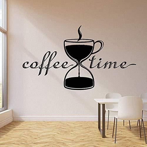 Calcomanía de vinilo para pared, sala de descanso para café, reloj de arena, taza de té, pegatinas de pared, diseño de decoración de interiores de café, pegatina de arte extraíble 100x57cm