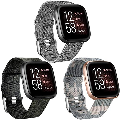 Maledan Bands Compatible with Fitbit Versa/Versa Lite/Versa 2 for Men Women Large, Breathable Woven Fabric Strap Replacement Watch Band for Versa Watch, 3 Pack Charcoal/Green/Camouflage