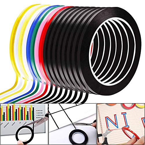 REYOK 16 Stück Whiteboard Tape 3mm x 66m Gridding Grafikband Buntes Klebeband Selbstklebend Markierungsband PET farbiges Klebeband Für Whiteboards, Blackboard, Notebook