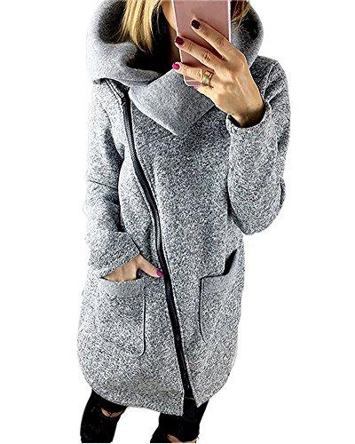 Tomwell Damen Lang Herbst Wintermantel Warm Jacken Sweatjacke Blouson Trenchcoat Reißverschluss Kapuzenpullover Hellgrau DE 40