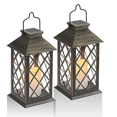 Caseyaria Solar-Laterne-Licht, Solarleuchte LED-Kerze-Laternen Mit LED Flackern Flameless Kerzen Wasserdichtes Solar Hängeleuchte 2Pcs