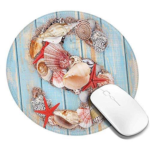 Ronde muismat, diverse schelpen schelpen zeesterren op houten planken nautische, anti-slip Gaming Mouse Mat
