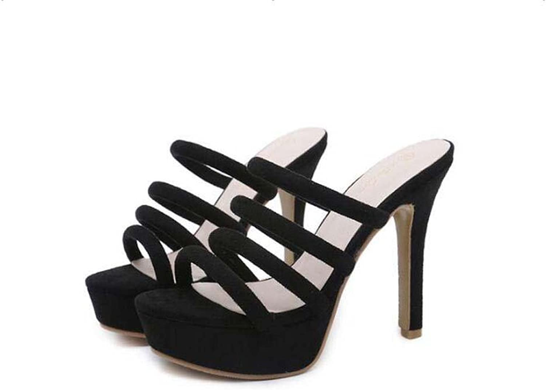 12.5cm Stiletto Cool Slippers Women Pump Open Toe Hollow Suede Dress shoes OL Court shoes Roma shoes EU Size 34-42