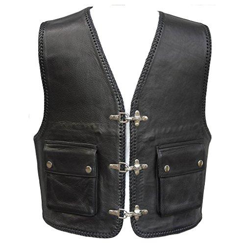 """Bad Company Leatherwear """"Kai"""" Clubweste aus Glattleder in Schwarz mit aufgesetzten Taschen für Motorradfahrer und Biker, Gr.: 54"""