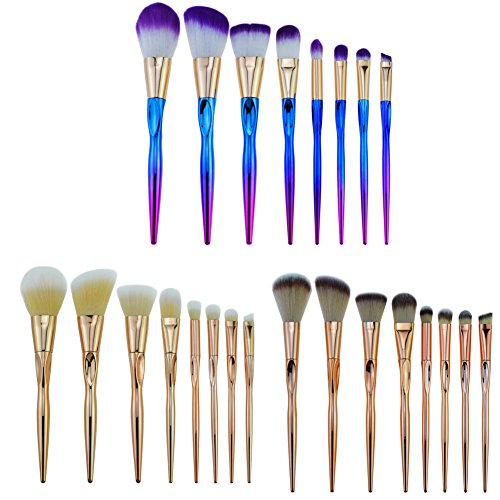 LPWORD 8 Pcs Maquillage Brush Set Licorne Fondation Ombre À Oeil Crayon À Sourcils Crayon Eyeliner Lèvre Brosse Maquillage Beauté Outil,Brown