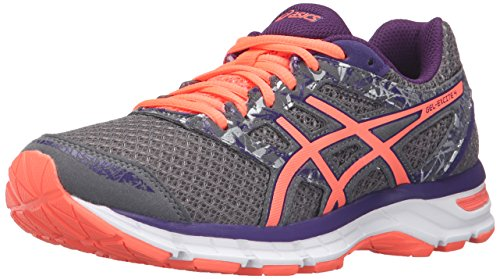 ASICS Women's Gel-Excite 4 Running Shoe, Shark/Flash Coral/Parachute Purple, 8 M US