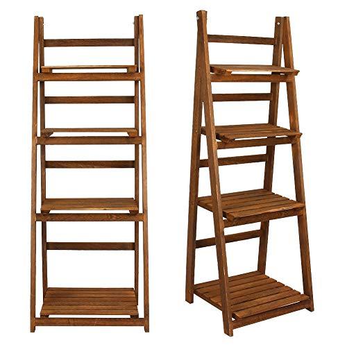 4 banden Ladderrekken Bloemenstandaard Vertoningsrek Opvouwbare ladderplank Houten boekenkast Huis Balkon Kantoor(brown)