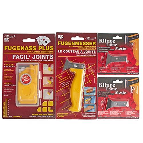 FugenAss Plus Fugen-Set   Fugenmesser & Fugenglätter mit 2 Ersatzklingen im Set   Universal Spezialwerkzeug für Sanitär   Ideal für Silikonfugen