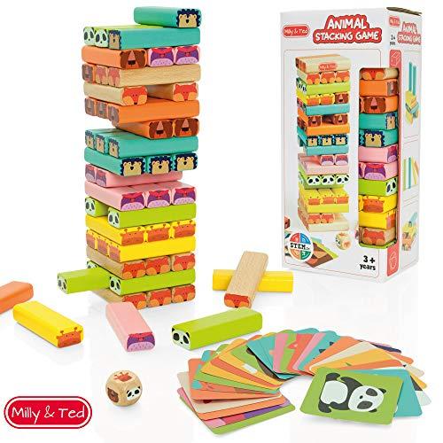Milly & Ted - Juego de Torres de Madera para niños - Juego de Mesa Familiar para niños o niñas - Juguete para apilar Bloques para niños de 3 a 9 años
