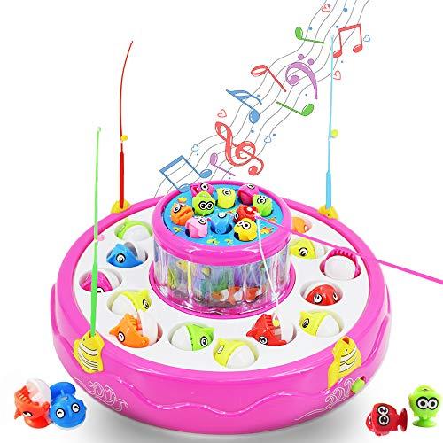 deAO Juego de Pesca Rotatorio de Dos Niveles Diseño Electrónico con Música y Luces LED Conjunto Incluye 4 Cañas de Pescar y 26 Peces (Rosa)