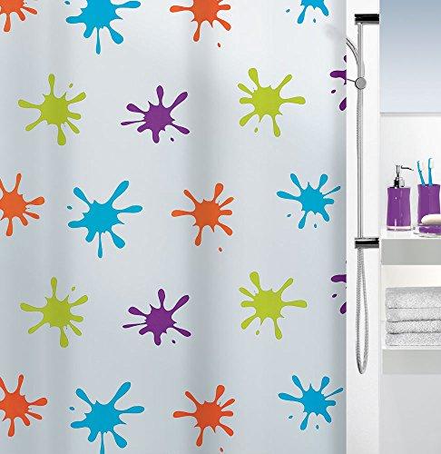 Spirella Anti-Schimmel Duschvorhang Splash Multicolor Anti-Bakteriell, waschbar, wasserdicht PEVA 180x200cm
