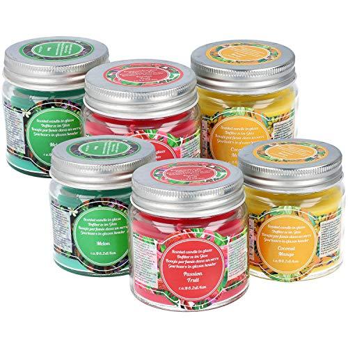 COM-FOUR® 6-delige geurkaars set in verschillende geuren, decoratieve kaars in glas (06 stuks - geurkaarsen)