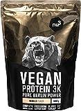 nu3 Vegan Protein 3K Proteine Isolate Vegetali in Polvere 1 kg - Polvere Proteica con Proteine da Piselli/Canapa/Riso Buona Solubilità - 72,5% Proteine - CS 137 Senza Aspartame - Gusto Vaniglia