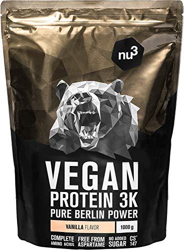 nu3 Proteína Vegana 3K - 1kg de Fórmula - 72,5% de Proteína a Base de 3 Componentes Vegetales - Proteínas Para el Crecimiento de la Masa Muscular con Delicioso Sabor Vainilla