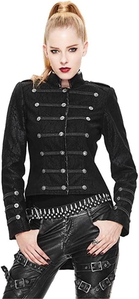 Devil Fashion Gothic Women Short Military Uniform Jackets Punk Black Casual Spring Stand Collar Jacket Coats