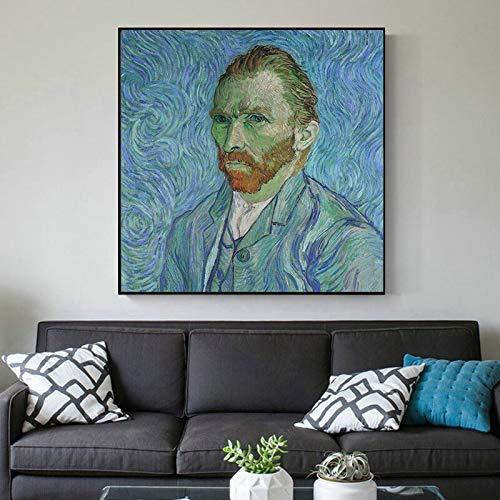 wZUN Lienzo Abstracto con Retrato de Van Gogh en la Pared, póster artístico en la Pared y decoración Impresa para la Sala de Estar del hogar 60x60 Sin Marco