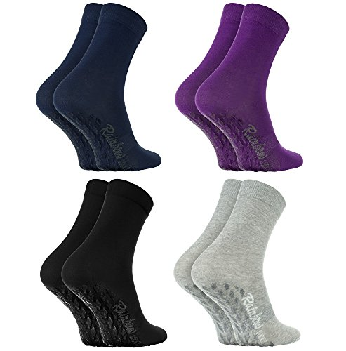 Rainbow Socks - Damen Herren Bunte Baumwolle Antirutsch Socken ABS - 4 Paar - Schwarz Lila Grau Blau - Größen 44-46