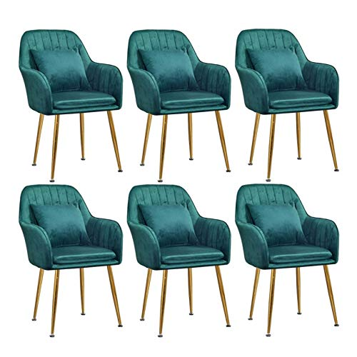 Set of 6 Velvet Dining Chair with Back Cushion Gold Metal Legs Dining Chair Simplicity Modern Upholstered Accent Desk Chair for Home Office (Color : Green)