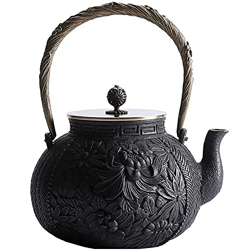 Tetera Grande De Hierro Fundido Segura Para Estufa, Tetera De Diseño Floral Japonés Para Estufa De Leña, Cocina De Inducción Y Estufa De Gas, Tetera Para Estufa