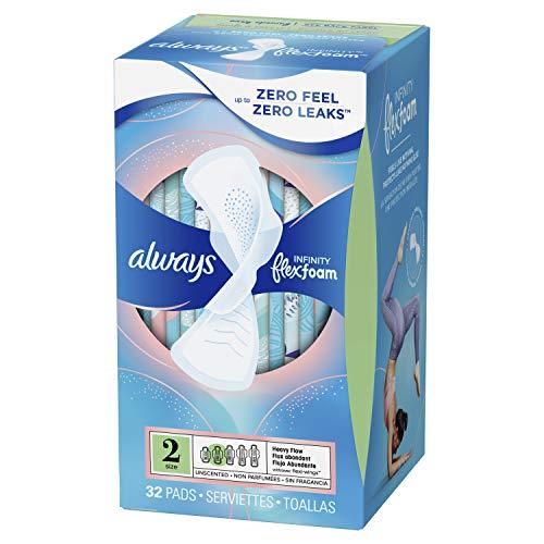 Always Infinity Vrouwelijke Pads voor dames, maat 2, Heavy Flow Absorbency, met vleugels, ongeparfumeerd, 32 stuks
