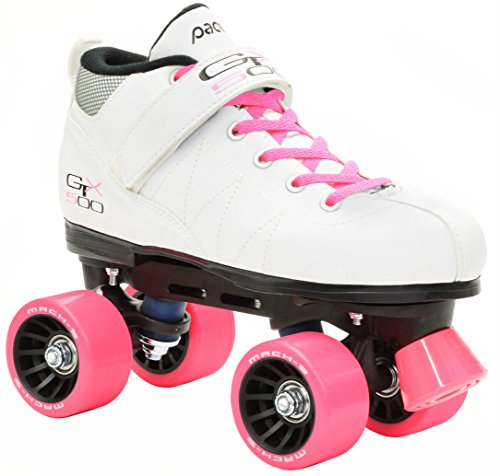 Pacer Mach-5 White Pink Skates - Mach5 GTX500 Quad Roller Skates - Unisex 3 (appropriate for children)