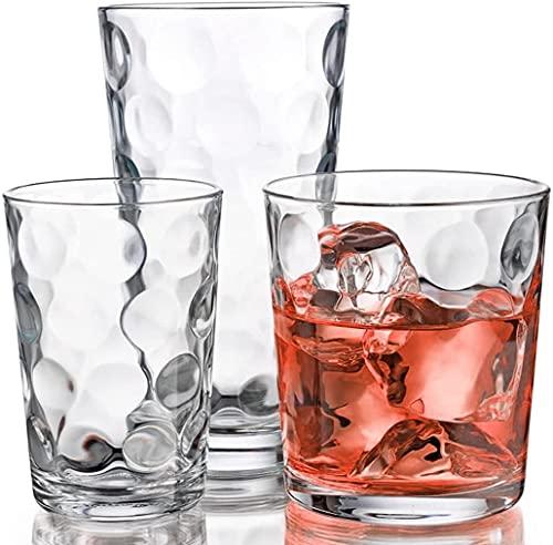 Elegant Glassware Set - 12 Piece Tumbler Drinking Glasses - Set of 4-17oz Highball Glasses 4-13oz DOF Rock Glasses 4-7oz Juice Glasses for Mixed Drinks, Water, Juice, Beer, Wine, Hurricane Glasses