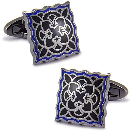 Epoxy Color Plated Platinum Cufflinks French Shirt Cufflinks Men-N Models With Black Flannel Box ZZBiao (Color : H with black flannel box)