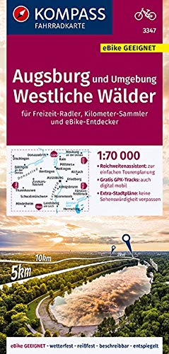 KOMPASS Fahrradkarte Augsburg und Umgebung, Westliche Wälder 1:70.000, FK 3347: reiß- und wetterfest mit Extra Stadtplänen (KOMPASS-Fahrradkarten Deutschland, Band 3347)