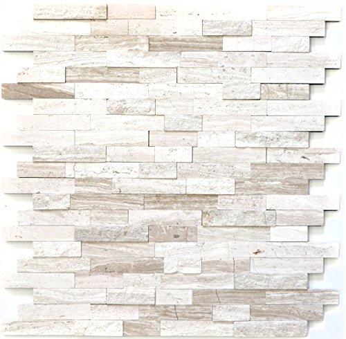 Mozaïek tegel zelfklevend marmer natuursteen grijswit natuursteen white wood voor muur badkamer toilet keuken tegelspiegel tegelverkleeding badkuip mozaïekmat mozaïekplaat