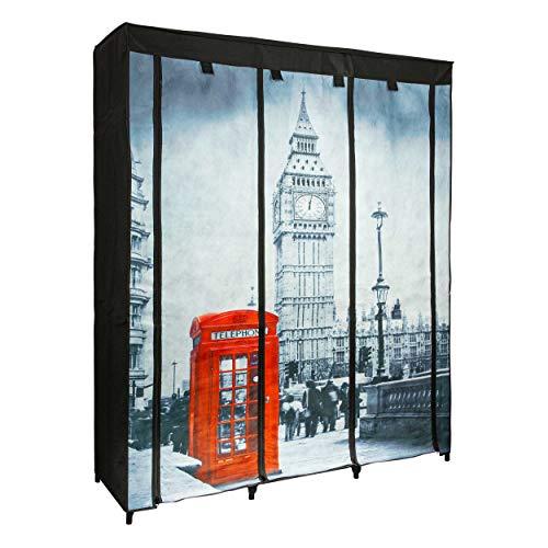 ONVAYA® - Armario de tela negro | plegable, con diseño de Londres o París | con barras para colgar
