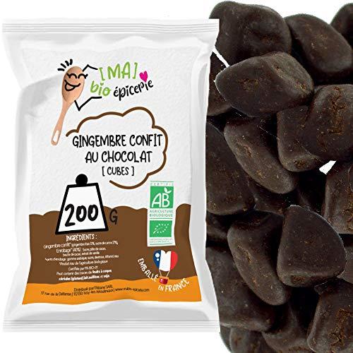 """Les Papoteuses   Zenzero candito biologico a cubetti ricoperti da cioccolato biologico 250 g   Certificato Biologico   Al 100% naturale   Frutta candita e Cioccolato nero di qualità """"superiore"""""""