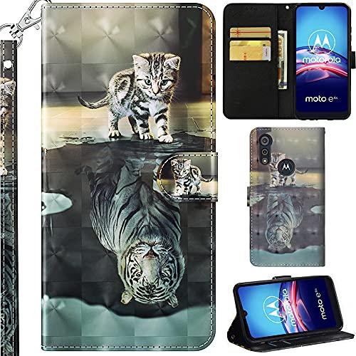 C/N DodoBuy Hülle für Motorola Moto E6s, 3D Flip PU Leder Schutzhülle Handy Tasche Wallet Hülle Cover Ständer mit Trageschlaufe Magnetverschluss - Katze Tiger