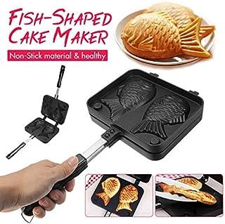 Home Non-Stick Taiyaki Fish-Shaped Bakeware Waffle Pan Maker 2 Molds Cake Baking Tools
