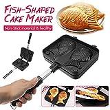 JOHNSTON Home Japanese Non-Stick Taiyaki Fish-Shaped Bakeware Waffle Pan Maker 2 Molds Cake Baking Tools