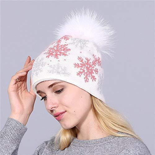 Pompones Sombrero de Punto Skullies Sombrero de Invierno Nias Sombrero de nia Guisantes Sombrero de Nieve de Navidad-White Pink Hat