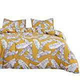 Wake In Cloud - Yellow Comforter Set, Banana Tree Leaves Black and White Drawing Pattern Printed, Soft Microfiber Bedding (3pcs, Queen Size)