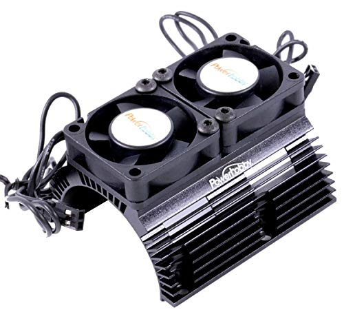 Powerhobby Aluminum Heat Sink with Twin Turbo High Speed Fans Sets for 1:8 Motors with Around 40.8mm Diameter (Black)