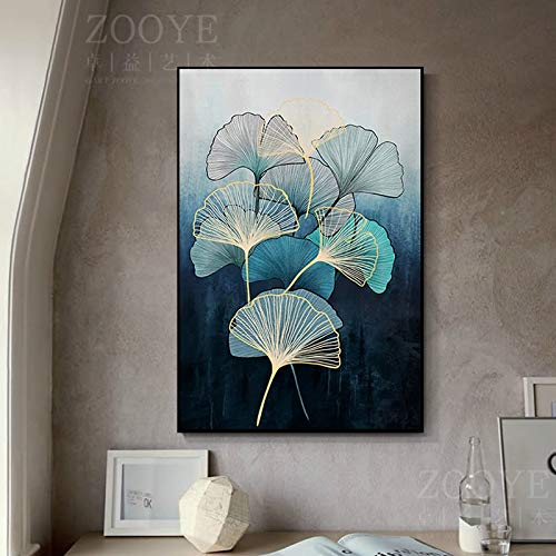 N / A Rahmenlose Malerei Nordische Malerei auf Leinwand weiche Feder Zen Blatt Poster Pastellfarbe Wohnzimmer HauptdekorationZGQ6835 30X50cm