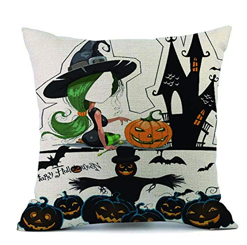 WSQYYY Halloween Decorative Throw Cushion Cases Pillow Covers Pumpkin Ghosts Home Decor for Vintage Holiday (C4)