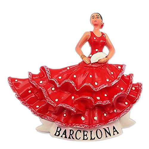Hqiyaols Souvenir Girl Barcelona Spain Refrigerator 3D Fridge Magnet City Travel Souvenir Collection Kitchen Decoration White Board Resin Label