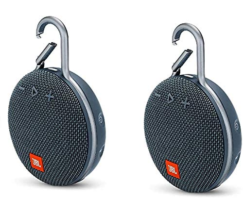 Pair of JBL Clip 3 Portable Bluetooth Waterproof Speaker (Blue) Bundle