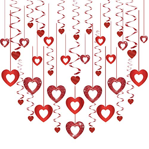 JOOPOM 38Pcs Kit ghirlanda di cuori rossi San Valentino Decorazioni a spirale Banner a soffitto Ghirlanda Cuore verticale Turbinii sospesi per matrimonio Forniture per feste di compleanno