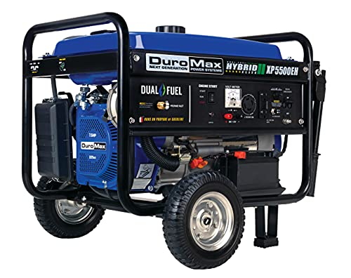 DuroMax XP5500EH Electric Start-Camping & RV Ready, 50 State Approved Dual Fuel Portable Generator-5500 Watt Gas or Propane Powered, Blue/Black